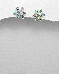 Sterling Silver Mixed Colors w/Shell Floral Stud Earrings