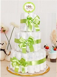 2 Piece Baby Birthday One Hundred Days Tabletop Decoration / Diaper Cakes (Green 100 Day)