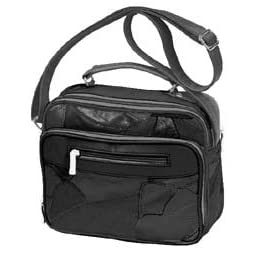 Roma Black Leather Organizer Bag #9010 Handbag Purse