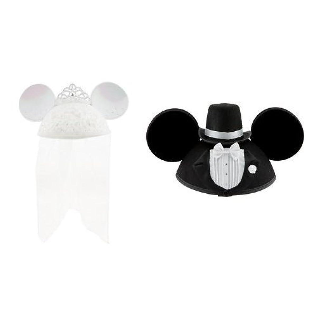 [해외] DISNEY 디즈니 미니 마우스 MICKEY & MINNIE MOUSE EAR HAT GROOM & BRIDE 미니 미키 이어 이어 (햇)하트 웨딩 페어 신랑 & 신부 그룸 & bride 2점 세트-