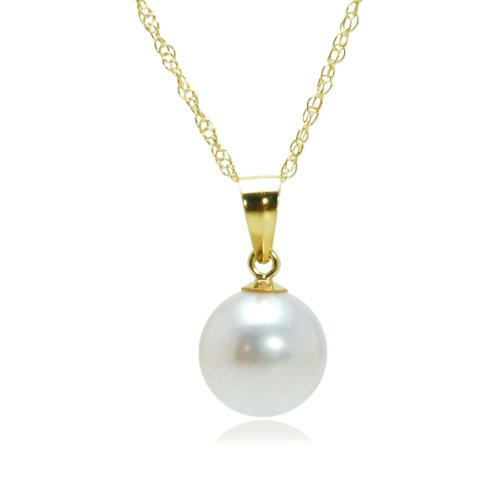 14k Yellow Gold White AA Grade 6.5-7mm Akoya Cultured Pearl Pendant Necklace, 18