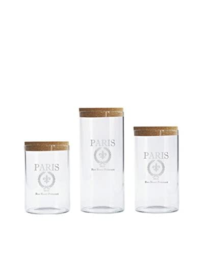 Jay Imports 3-Piece Etched Paris Glass Canister Set with Cork Lids
