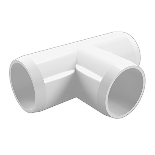 """FORMUFIT F002TEE-WH-4 Tee PVC Fitting, Furniture Grade, 2"""" Size, White (Pack of 4)"""