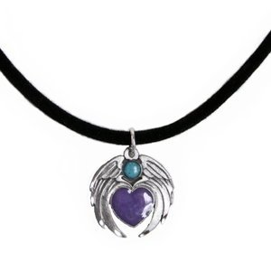 Turquoise and Purple Heart with Angel Wings Pewter Pendant on Velvet Cord - Adjustable from 14 to 16