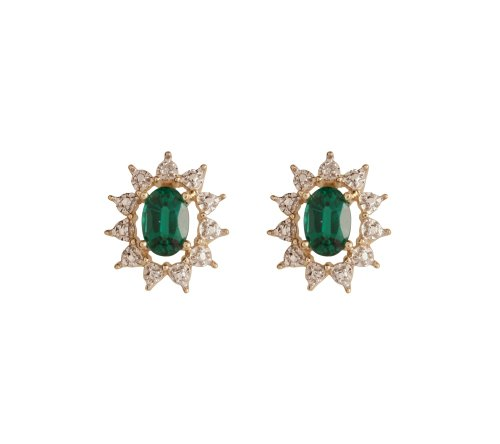 10k Yellow Gold Created Emerald and Diamond-Accent Oval Earrings