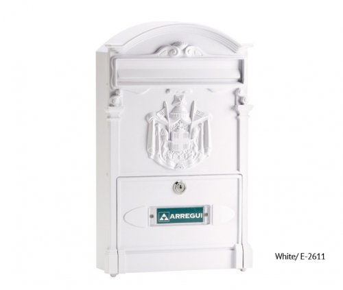 Residencia Traditional style Aluminium post box with regal crest Imperial letter box Mail box White with name plate