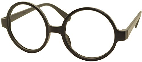 5 X FancyG® Retro Geek Nerd Style Round Shape Glass Frame NO LENSES - Matte Black