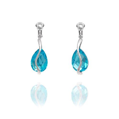 Rodney Holman Teardrop Crystal Bar Clip On Earrings - Blue