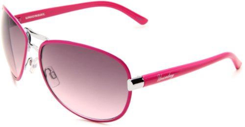 Union Bay Women's U465 Aviator Sunglasses,Silver And Pink Frame,Smoke Gradient Lens,One Size