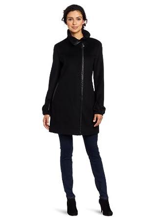 Calvin Klein Women's Lux Patent Trim Coat, Black, 2