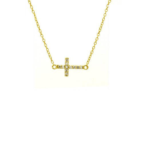 apop nyc Yellow Gold Vermeil Mini Horizontal Cross Necklace 16 inch with Cubic Zirconia