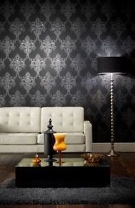 Arthouse Vintage Ravelle Wallpaper - Dramatic Bla from New A-Brend