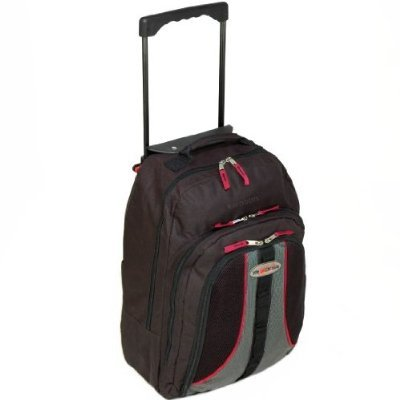 Cabin Approved 45 Litre Wheeled Trolley Backpack (Black/Red) from Karabar