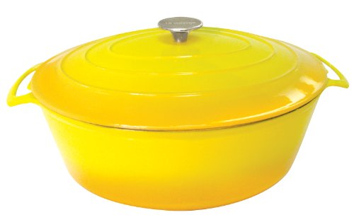 Le Cuistot Vieille France Enameled Cast-Iron 8.5 Quart Oval Dutch Oven - 2 Tone Yellow