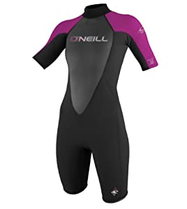 O'Neill Wetsuits Women's Reactor 2mm Short Sleeve Spring, Black/Festival, 14