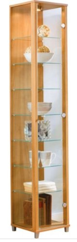 Oak Single Door Glass Display Cabinet with 4 Moveable Glass Shelves & Spotlight