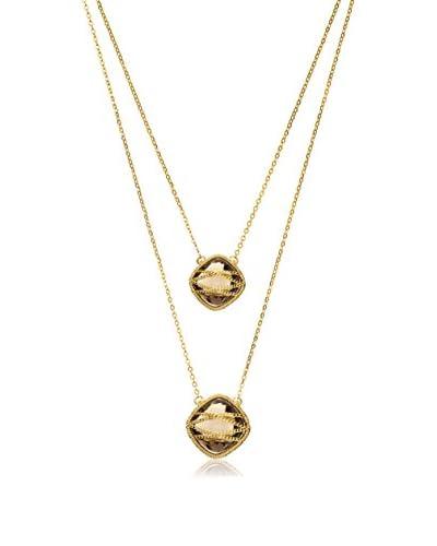 Laurium Lynx Hand-Wrapped 18K Gold-Plated Double Drop Square Smoky Quartz Necklace