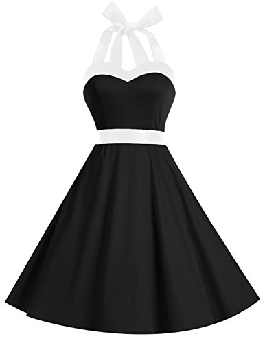 Dresstells Vintage 1950s Rockabilly Polka Dots Audrey Dress Retro Cocktail Dress Black White 2XL