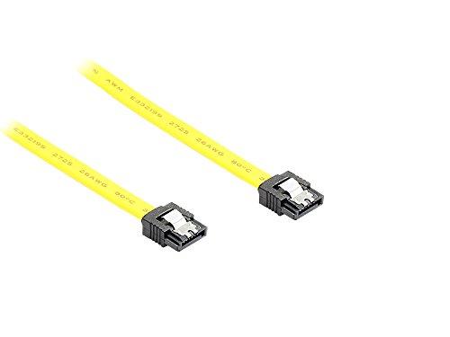 kabelmeister® SATA 6 Gb/s Anschlusskabel mit Metallclip, 0,30m, gelb