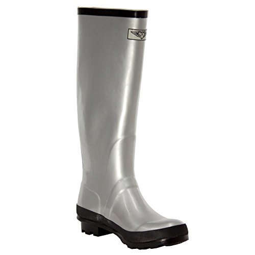 Forever Young Women`S Flat Wellies Rubber Rain & Snow Boots,Silver,11 (Silver Blue Rain Boots compare prices)