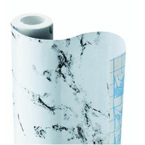 Falk Fabrics, LLC - Decora Marble White Contact Paper 3 Yd. Special adhesive allows it to be repositioned during installation without leaving sticky residue