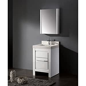 madeli vicenza 24 inch bathroom vanity with quartzstone top glossy