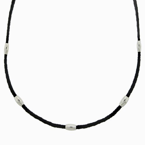 Men's Stainless Steel Black Leather Moving Stations Necklace