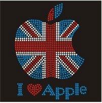 -JUMBO UK FLAG APPLE Iron On Rhinestone Crystal T-shirt Transfer