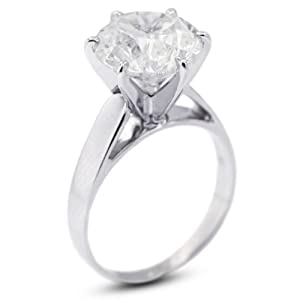 3.00 CT Exc-Cut Round G-VS1 GIA Cert Diamond Platinum Cathedral Solitaire Engagement Ring 8.52gr