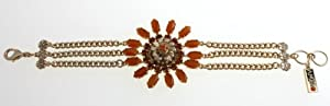3 Stranded Bracelet from Amaro Jewelry Studio 'Coral Energy' Collection Set with Carnelian, Coral, Swarovski Crystals Embellished Flower Central Element; 24K Rose Gold Plated