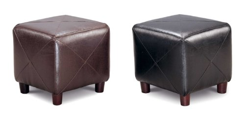Brown Leather Accent Cube Foot Stool by Coaster