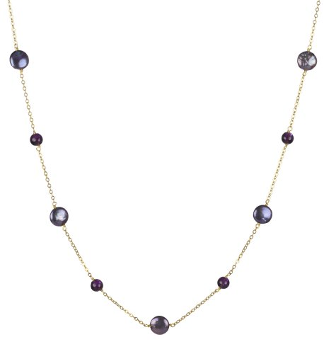 Amethyst Round Bead, Peacock Coin Shape Freshwater Pearl , and Gold Plated Silver Chain Necklace, 18