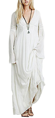 R.Vivimos® Women Fall Winter Sexy Deep V-neck Long Sleeve Long Dress Large White