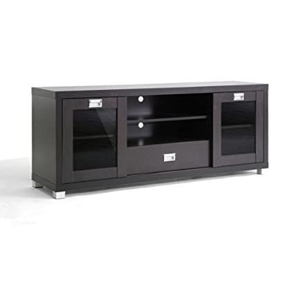 Tv Stand Entertainment Center Modern Dark Brown Glass Door Media Furniture Console
