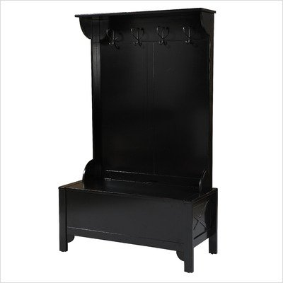 Entryway Hall Tree with Storage Bench in Black Finish | Best Hall ...