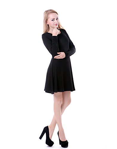 HDE Women's Casual Cotton Jersey Knit Long Sleeve Slip-On Mini Skater Dress (Black, Small)
