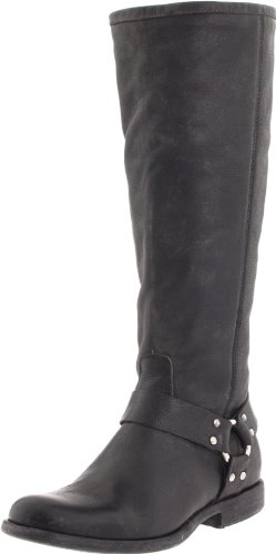 FRYE Women`s Phillip Harness Tall medium calf Boot, Black Soft Vintage Leather, 8 M US