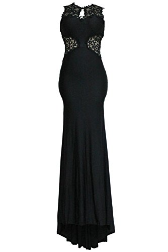 Happy Sailed Women's Open Back Fine Flowers Wedding Evening Gown, Large Black