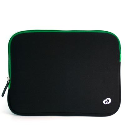 Samsung 10.1 inch netbook Samsung N145-JP02 Louring Neoprene Soft Case with Green Zipper Reversiable