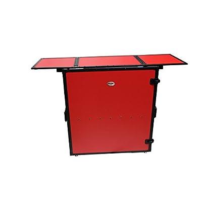 ProX Transformer Series Fold Away DJ Performance Desk Facade Red on Black W/ Wheels