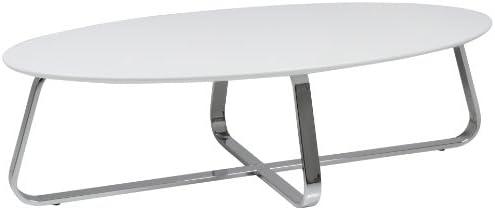 AC Design Furniture 47531 Viggo Table basse avec structure métallique chromée Blanc mat 120 x 35 x 60 cm