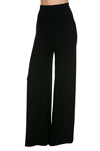 Superline Wide Leg High Fold Over Waist Palazzo Pants (Small, Black Solid) (Wide Leg Pants Women compare prices)