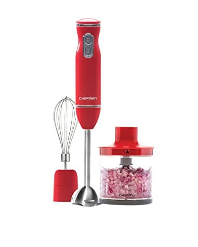 Chefman Hand Blender with Food Chopper & Whisk Attachments, Watermelon