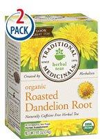 Traditional Medicinals Organic Roasted Dandelion Root Herbal Tea -- 16 Tea Bags Each / Pack Of 2