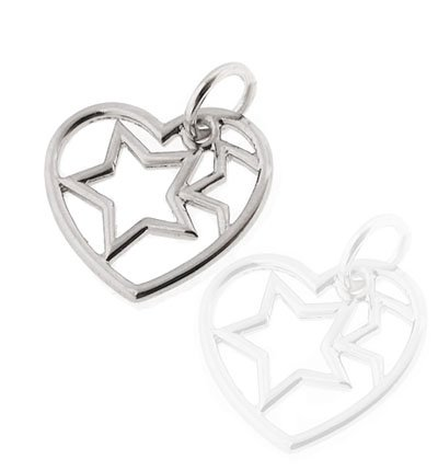 Top Quality and Rare 2 Sided Sterling Silver Heart Pendant with Star Inside the Heart, Large Size