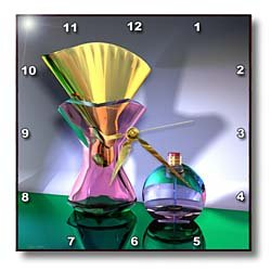 A 3d artwork that features pretty perfume bottles shining in shades of pink, gold, green and blue - 10x10 Wall Clock