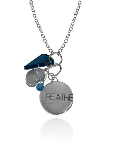 Sterling Silver BREATHE Necklace with various Charms 30 inch