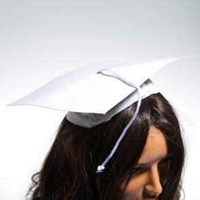 Dozen White Cardboard Graduation Caps