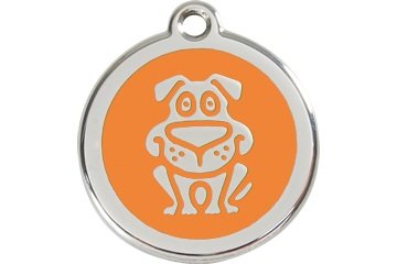 Engraved Stainless Steel with Enamel Pet I.D. Tag - Medium Dog
