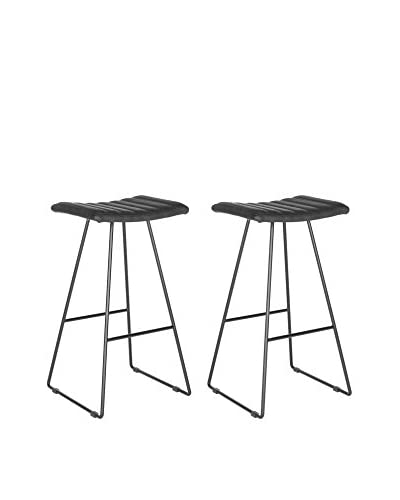 Safavieh Set of 2 Akito Barstools, Black